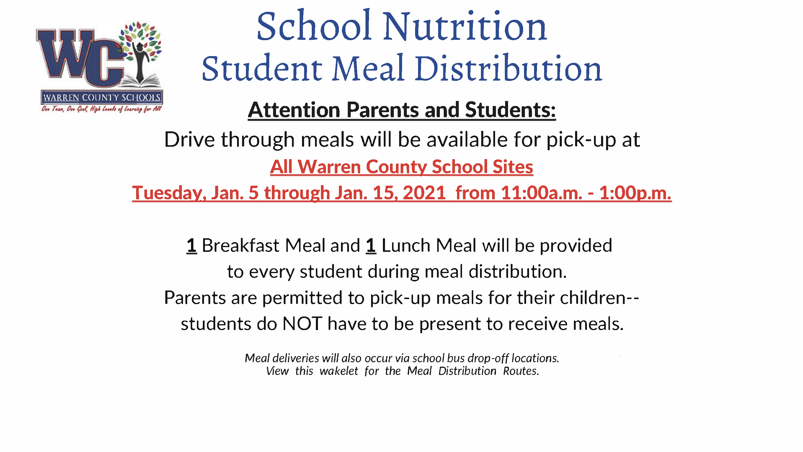 School Nutrition Meal Distribution